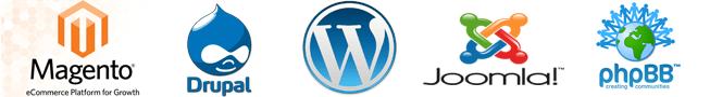 WordPress, Drupal, Magento, Joomla, phpBB
